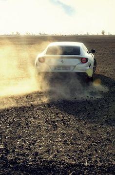 White Ferrari Gone Offroad