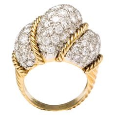 Van Cleef & Arpels VCA Yellow Gold Diamond Dome Ring | From a unique collection of vintage dome rings at http://www.1stdibs.com/jewelry/rings/dome-rings/