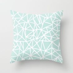 Ab Outline Thick Mint Throw Pillow by Emeline - Cover x with pillow insert - Indoor Pillow