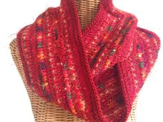 Red Infinity Scarf Knitted Wool by ButtermilkCottage on Etsy