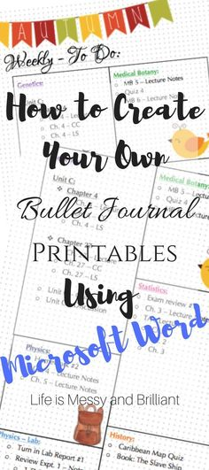 How to create bullet journal printables using Microsft Word. On this tutorial, I'm going to teach you how to make a simple and minimalistic bullet journal printable.