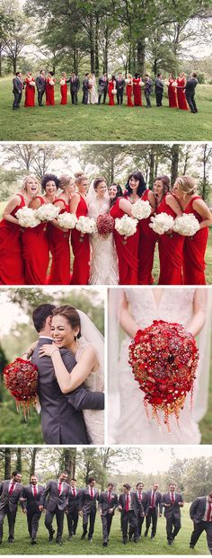 Ardent, Red-Inspired Wedding in St. Louis - Be inspired by Nicole & Dan& romantically red wedding at the Four Seasons in St. Bridesmaid Bouquet White, Wedding Bridesmaid Dresses, Bouquet Wedding, Wedding Ceremony, Bride Dresses, Red Wedding, Luxury Wedding, Wedding Stuff, Popular Wedding Colors
