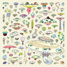"murakami reference. showing variations of different types of ""animals""/""species"". mushrooms."