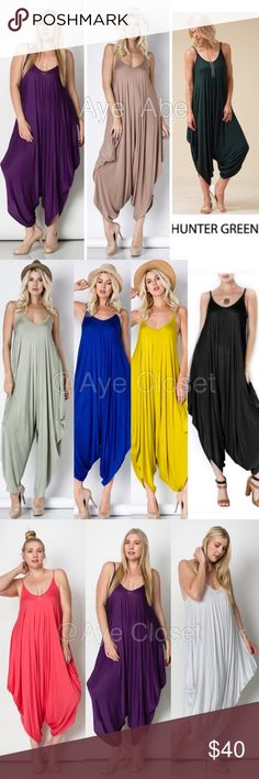 Sexy boho oversized loose fit jumpsuit dress harem price is firm unless bundled✍Retail, Brand new without tags. Fabric Content : rayon + spandex  Trendy plus size Boho chic jumpsuit, palazzo harem pant dress Oversized Loose fit drape harem Romper jumpsuit super comfy and breathable fabric... Boutique Tops Tunics