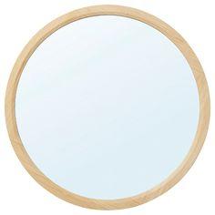 IKEA - RÅGRUND, Espejo, redondo, bambú, Con película de seguridad. Así se eliminan los riesgos de dañarse si el vidrio se rompe. El bambú es un material natural muy resistente. My Furniture, Agate, Console, Mirror, Color, Home Decor, Bathroom, Glazed Glass, Home