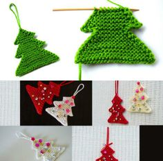 Knitted Christmas tree - Baby Stuff and Crafts Knitted Christmas Decorations, Knit Christmas Ornaments, Xmas Tree Decorations, Christmas Tree Pattern, Christmas Knitting Patterns, Knitting Patterns Free, Christmas Crafts, Christmas Feeling, Christmas Makes