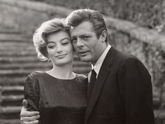 Anouk Aimée and Marcello Mastroianni in La Dolce Vita directed by Federico Fellini, 1960 Anouk Aimée, Loss Of A Friend, France 5, Marcello Mastroianni, Old Movie Stars, Portraits, French Beauty, Chef D Oeuvre, French Actress