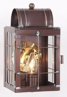 Antique Copper LANTERN WALL LIGHT Handcrafted Outdoor Colonial Candle Sconce Made in USA