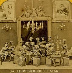 """Salle de jeu chez Satan. - Roughly translated """"Satan's Game Room"""". Image from an old stereoscope card."""