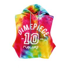 Dimepiece Play Hard Tye Dye Cropped Pull Over | Beginning Boutique ($48) ❤ liked on Polyvore featuring tops, shirts, crop tops, hoodies, tyedye shirts, tie dye tops, dimepiece, tye die shirts and tiedie shirts