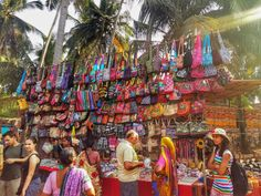 Colourful stalls at Anjuna Flea Market in Goa, India