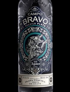 Campo Bravo Tequila — The Dieline - Branding & Packaging Design Beverage Packaging, Bottle Packaging, Brand Packaging, Bottle Labels, Stranger And Stranger, Beer Label Design, Liqueur, Whisky, Wine And Spirits