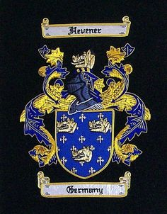 Large Embroidery Coat of Arms Exquisite custom hand stitching - showcase your family Coat of Arms on a black felt background. Heraldic symbols form an intriguing work of art and have meanings that hav