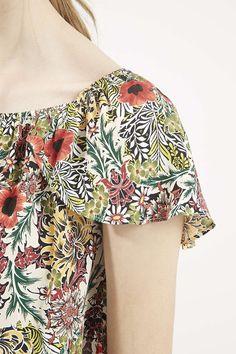 Poppy Garden Print Bardot Top - Clothing- Topshop