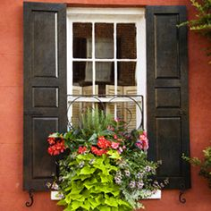 A simple and inexpensive way to improve the curb appeal is to update the look of your shutters with new shutter hardware including hinges and shutter dogs. Shutter Hinges, Shutter Hardware, Window Hardware, Open Shutters, Wood Shutters, Exterior Shutters, Window Coverings, Window Treatments, Shutter Dogs