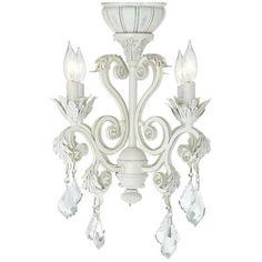 4-Light Rubbed White Chandelier Ceiling Fan Light Kit -
