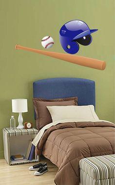 cik708 Full Color Wall decal baseball helmet bits ball sport team game bedroom