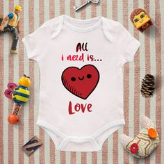 Baby Girl Bodysuit, All you need is Love, Baby Onesie, Baby girl Clothing, Heart design, Baby shower, Personalized Bodysuit, WildChild Style