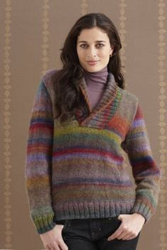 Wisteria Shawl Collar Pullover: Free pattern from Lion Brand Yarn.
