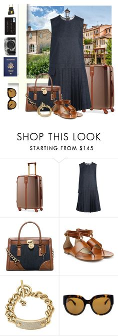 """Let's Travel"" by trishica ❤ liked on Polyvore featuring Hartmann, MSGM, MICHAEL Michael Kors, Michael Kors, Nikon and Crate and Barrel"