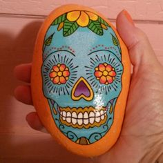 HOLD...Sugarskull painted river rock (On HOLD for gajeepgirl)Sugar skull painted on a river rock. Accessories