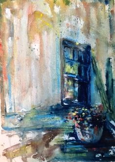 Watercolor window in Blue.              Robin Miller-Bookhout