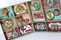 Angella Peardon from the Maya Road design team created this awesome 12 days of Xmas book with shadow boxes! Christmas Shadow Boxes, Christmas Art, Vintage Christmas, 12 Days Of Xmas, Fun Projects, Altered Art, Holiday Crafts, Mini Albums, Maya