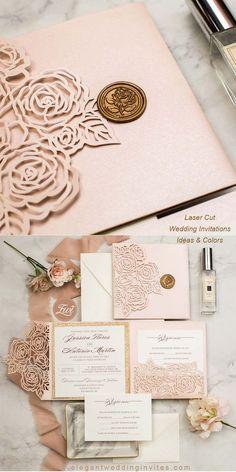 elegant blush rose laser cut pocket fold with rose gold glitter paper backer EWWS311 for backyard wedding ideas