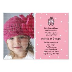 Ballerina Slippers Photo Invitation or Thank You