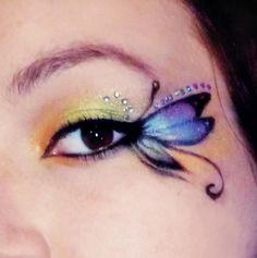 butterfly fairy make up Butterfly Makeup, Butterfly Eyes, Butterfly Fairy, Fairy Makeup, Makeup Art, Mermaid Makeup, Maquillage Halloween, Halloween Makeup, Halloween Fairy