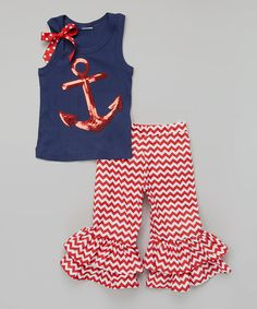 Look at this #zulilyfind! Red Anchor Tank & Ruffle Pants - Infant, Toddler & Girls #zulilyfinds