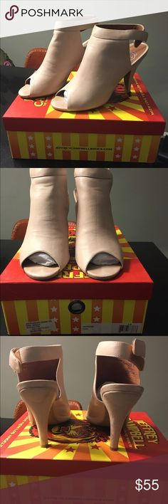 """Jeffrey Campbell Peep Toe Peep-toe Jeffrey Campbell Norene Cutout sandals cut from rich leather. A Velcro® closure secures the ankle strap. Covered 3.5"""" heel and rubber sole. Comes with box, excellent condition, barely worn. True to size. Jeffrey Campbell Shoes Heels"""