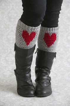 Cozy Heart Legwarmers - Cozy up to these heart legwarmers and stay warm the hearty way! These 100% wool legwarmers look great peeking out over slouchy boots and are a wonderful way to spread the love. From the February 2015 issue of I Like Crochet.