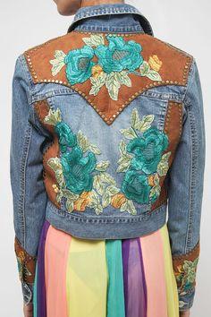 Boho Vintage Jeans Jacket / Embroidered Flower applique/