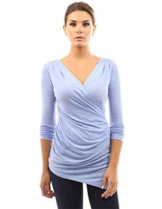 [AMAZON] PattyBoutik Women's V Neck Crossover Side Ruched Top - $32.99</span> with FREE SHIPING WORLDWIDE!