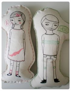 boy girl pillows. I want to make these for the couch. cute. Instead of embroider i would draw it scan the picture and iron on the design.