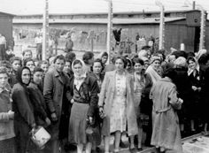 Birkenau, Poland, Women concidered fit for labor standing on the platform after selection, 05/1944.