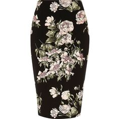 River Island Black floral print pencil skirt ($60) ❤ liked on Polyvore featuring skirts, black, midi skirts, women, floral skirt, tall skirts, knee length pencil skirt, zipper skirt and river island