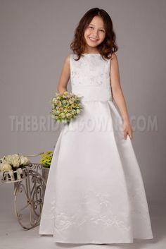 Satin White Classic Flower Girl Dress - Order Link: http://www.thebridalgowns.com/satin-white-classic-flower-girl-dress-tbg4103 - SILHOUETTE: A-Line; SLEEVE: Sleeveless; LENGTH: Floor Length; FABRIC: Satin; EMBELLISHMENTS: Beading - Price: 93USD