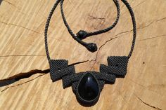 rainbow obsidian necklace,macrame necklace,stone necklace,black color,obsidian jewelry,macrame jewelry,cabochon necklace,gemstone necklace by ARTEAMANOetsy on Etsy