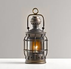 Mini Vintage Lantern Antique Bronze | Nightlights | Restoration Hardware Baby & Child - for the mantle in the living room so I wouldn't bump my toes