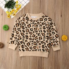 Print Leopard Sweatshirt for Baby and Toddler Unisex Cute Toddler Girl Clothes, Toddler Girl Outfits, Boy Outfits, Baby Boy Sweater, Baby Sweaters, Jumper Clothing, Pull Bebe, Leopard Print Fabric, Supreme Clothing