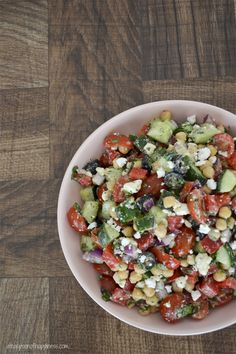 Mediterranean Chickpea Salad - A friend brought this to a Pinterest Party and it was a hit! I asked for the recipe and it is easy to make too!