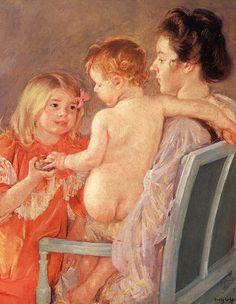 Sara Handing a Toy to the Baby, Mary Cassatt