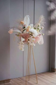 Gorgeous soft pastel wedding floral display for reception or ceremony Floral Wedding Decorations, Wedding Centerpieces, Wedding Table, Wedding Bouquets, Wedding Flowers, Metal Flowers, Dried Flowers, Deco Floral, Floral Design