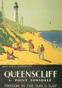 Percy Trompf Queenscliff Australia How I love Queenscliff - E was married here. Vintage Advertising Posters, Vintage Travel Posters, Vintage Postcards, Vintage Advertisements, Posters Australia, Australian Vintage, Tourism Poster, Cool Posters, Surf Posters