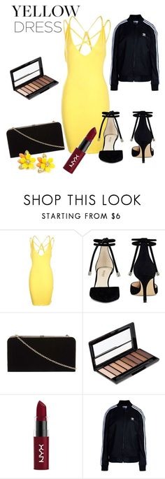 """""""Yellow Dress 💛"""" by hollynagle on Polyvore featuring Boohoo, Nine West, Dorothy Perkins, Rimmel, NYX and adidas Originals"""