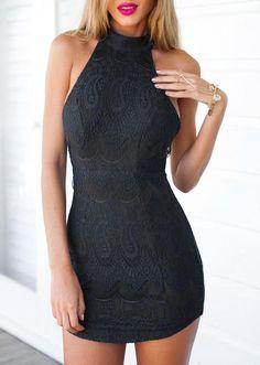 Halter Bodycon Lace Backless Sleeveless Sexy Short Dress