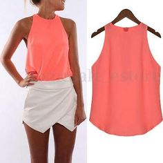 (Sub-Style: Cami. Chiffon Shirt, Chiffon Tops, Cheap Tank Tops, Looks Plus Size, Women's Summer Fashion, Everyday Outfits, Plus Size Women, Casual Shirts, Ideias Fashion