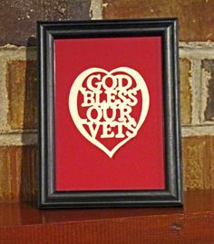 God Bless Our Vets - Scherenschnitte - Hand Paper Cutting Art signed and dated By Janet Lynch -4x6 Framed. $15.00, via Etsy.